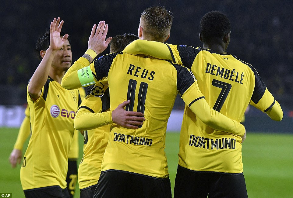 Marco Reus capped his return from a long-term injury by scoring a hat-trick while French Dembele scored one goal