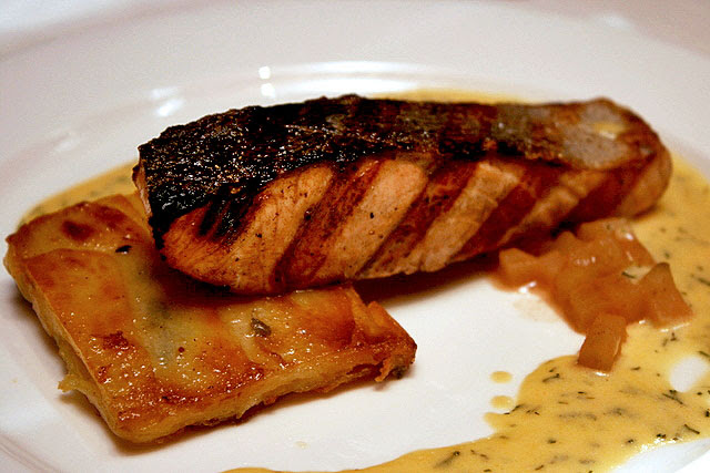 Grilled Salmon with Pommes Sarlandaise, Apple Compote and Dill Cream Sauce