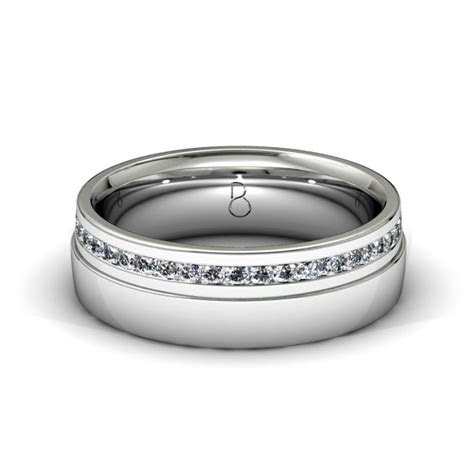 platinum  mens diamond set wedding band ct