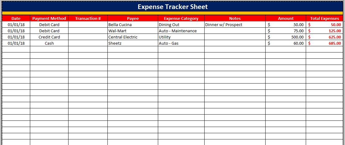 Expenditure Spreadsheet Template1
