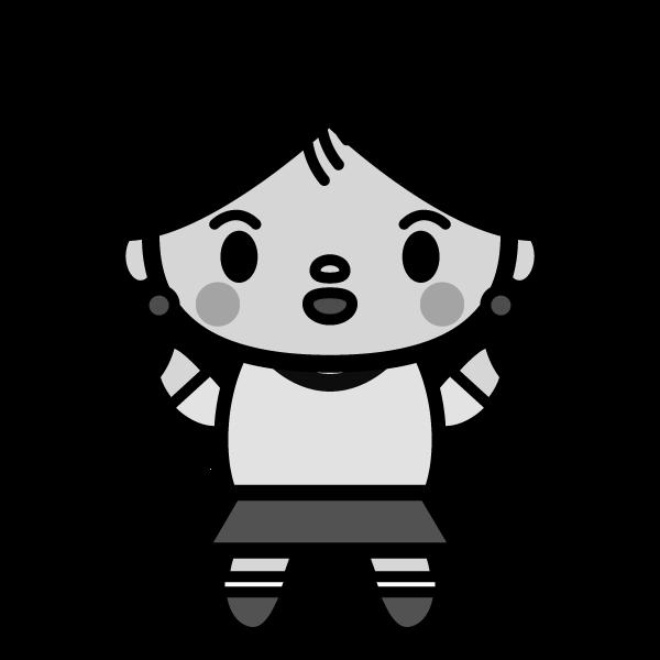 モノクロでかわいい女の子の無料イラスト商用フリー オイデ43