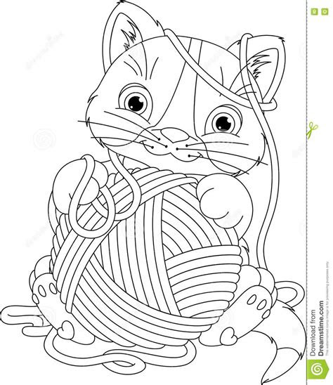 kitten  yarn ball coloring page stock vector