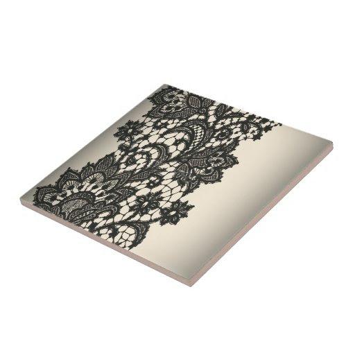 Vintage black Lace beige Paris decor tile from Zazzle.