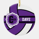 Purple Volleyball | DIY Text Double-Sided Ceramic Round Christmas Ornament