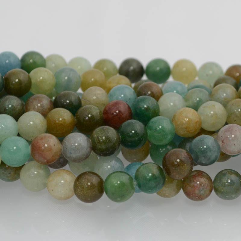 s36242 Stone Beads - 10 mm Round - Blue Green Quartz (strand)