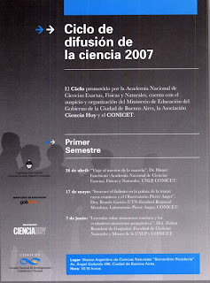 Ciclo de Difusión Científica 2007.