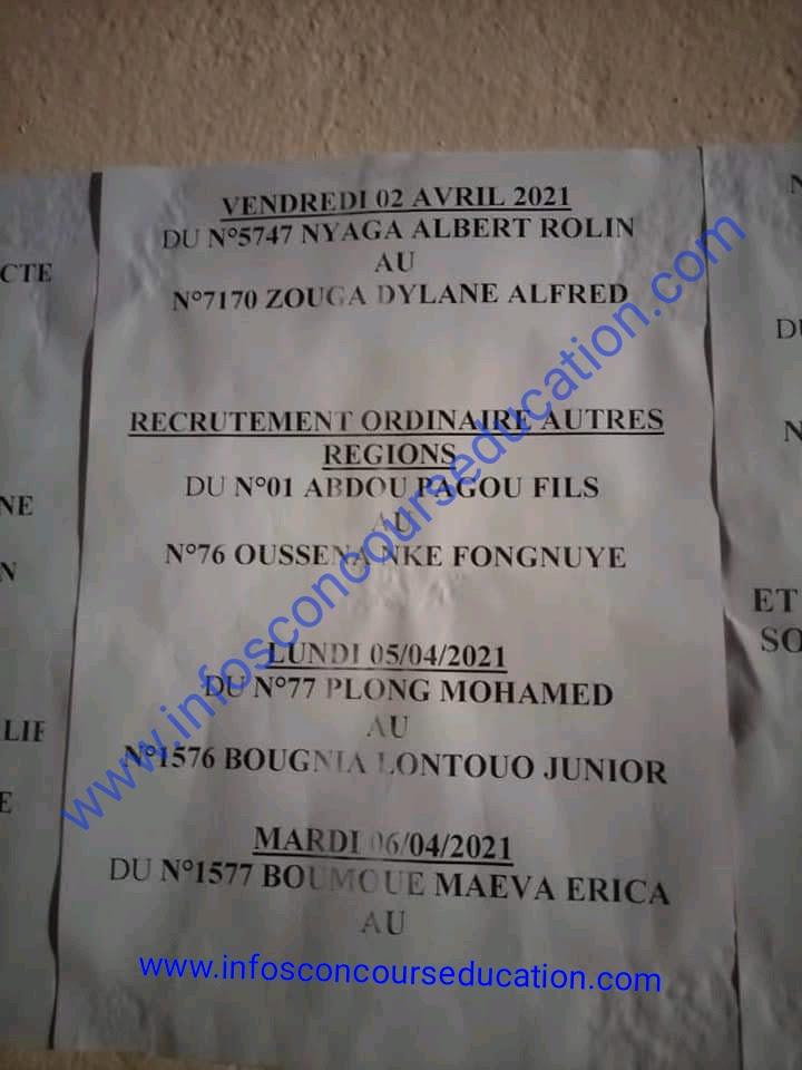 ordre de passage des candidats au concours des élèves sous-officiers option service général MINDEF 2021 pour le centre