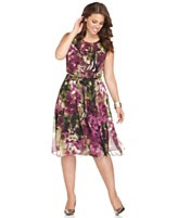 Jones New York Plus Size Dress, Sleeveless Ruffled Floral Printed