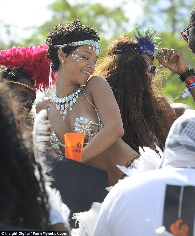 Just us girls: Rihanna seemed to have most fun when her best friend Melissa was around