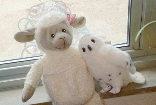 Sheepy and Owly plush toys sheep and snowy owl Hedwig