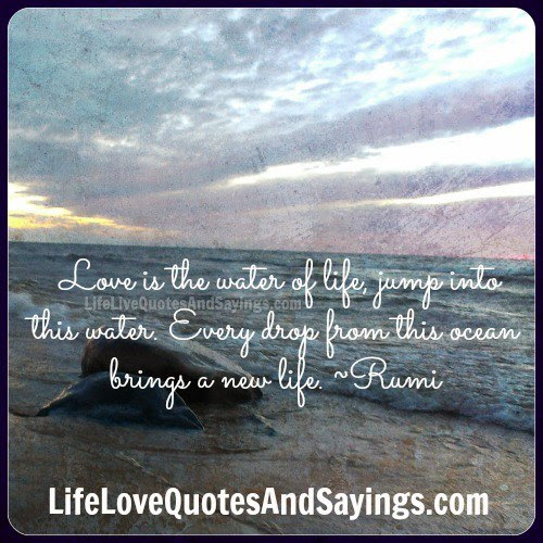 Love Is The Water Of Life Jump Into This Water Every Drop From This