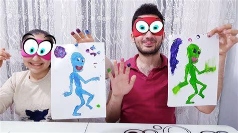 yesil uzayli boyama zamani  marker challenge fun kid