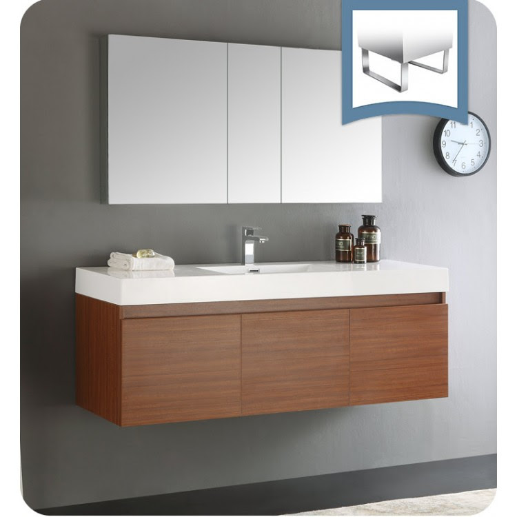 Fresca Fvn8041tk Mezzo 59 Teak Wall Hung Single Sink Modern