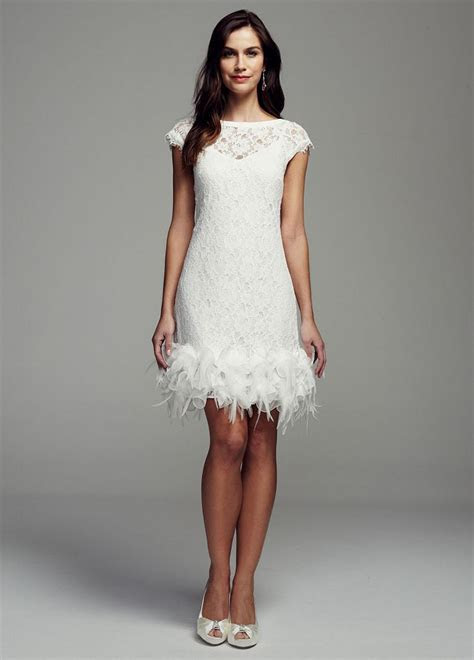 David's Bridal Short Lace Wedding Dress with Feather Trim