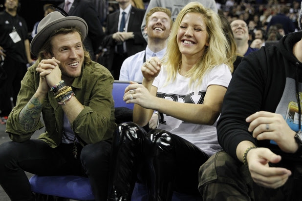 Ellie Goulding and Dougie Poynter are projected onto the NBA Kiss Cam at NBA Global Games at O2 Arena