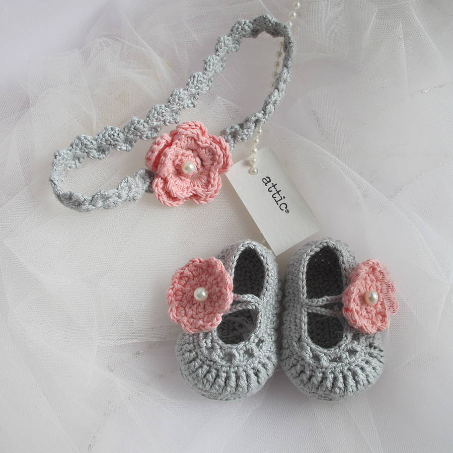hand crochet baby shoes with headband by attic  236c27c524a