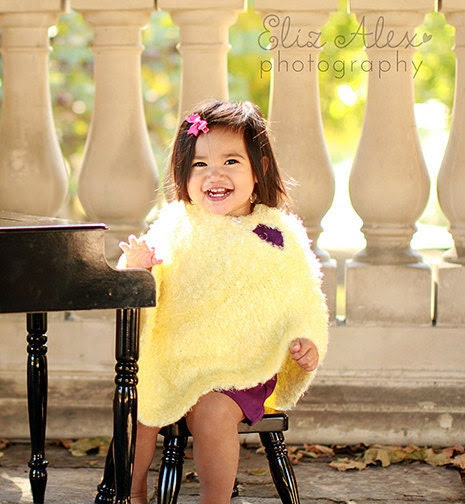 Yellow Poncho, Soft Knit Silky, 2 to 3 Year Size (Item 151)