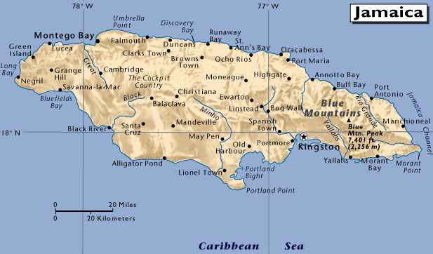 Map of Jamaica. Its indigenous Arawakan-speaking Taíno inhabitants named the
