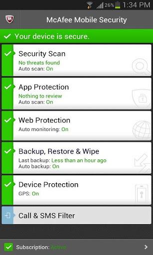 McAfee Mobile Security para Android (Foto: Divulgação)