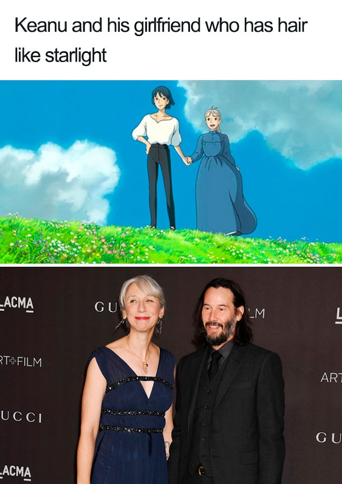 Someone Compares Keanu Reeves And His Alleged Girlfriend To Howl's Moving Castle Characters And It's Spot On