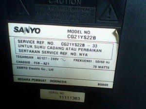 model tv sanyo cg21ys22b