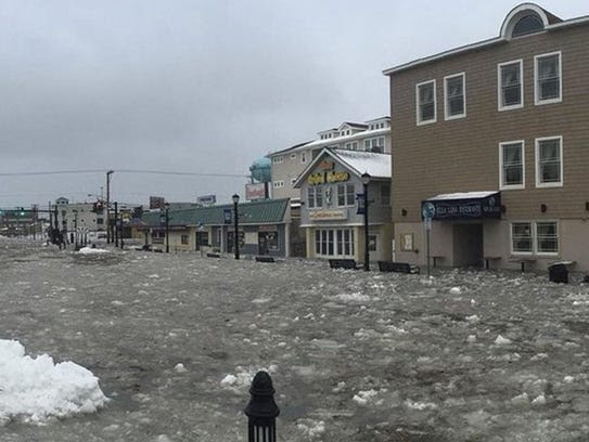 Coastal flooding in New Jersey. The Sea Isle Chamber