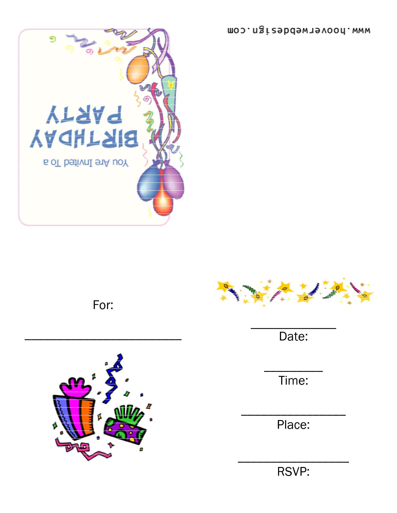 free birthday party invitation templates