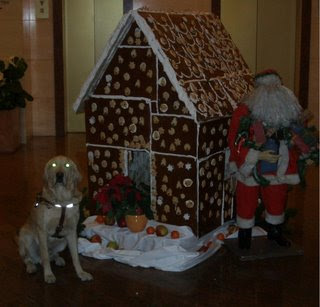 Miguel posing in front of a 4 foot tall Gingerbread house - behaving himself