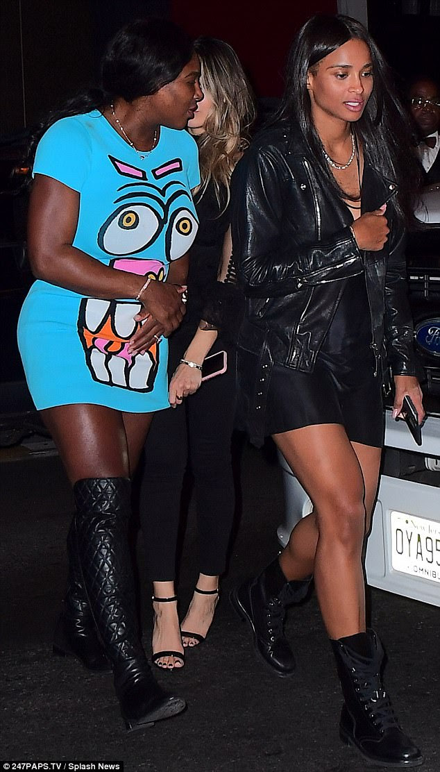 Squad: Serena was accompanied by her friends as the group made its way around the city aboard a rented party bus
