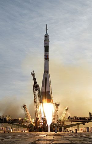 A Russian Soyuz lifts off from the Baikonur Co...