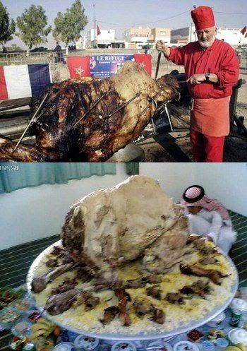 menu terbesar sedunia unta bakar utuh isi kambing