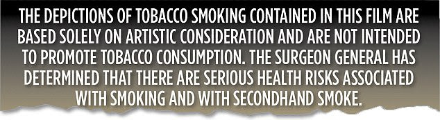 The secondhand smoke warning (above) which features in the film credits