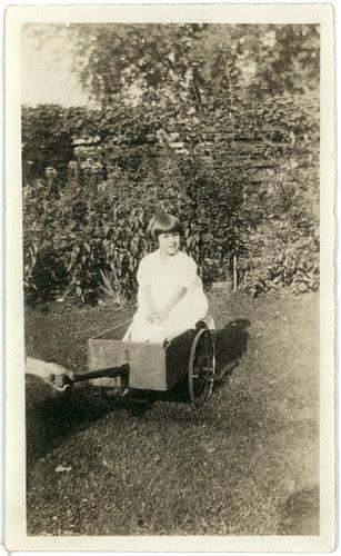Girl in a wagon