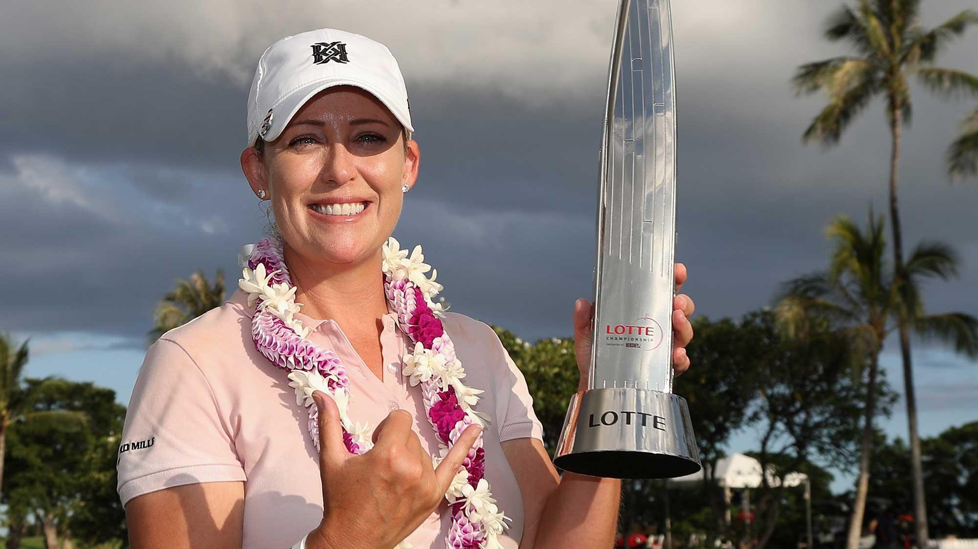 Cristie Kerr with Lotte trophy