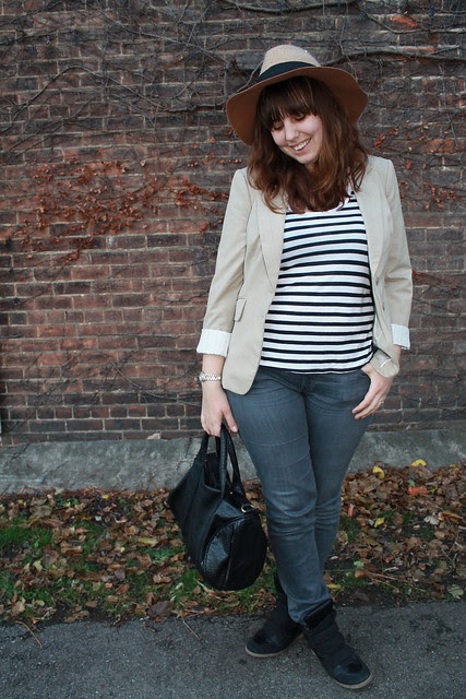 "New loves outfit: black sneaker wedges, gray AG ""Stevie"" jeans, black and white striped tank, beige blazer, wool rancher hat, black leather bag"