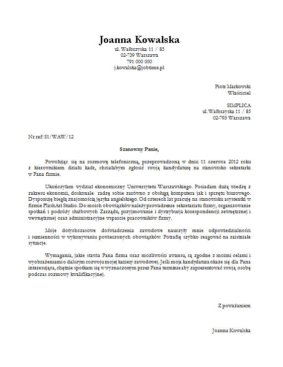 List Motywacyjny Szablon Pobierz