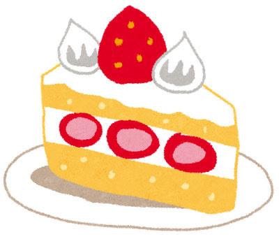 無料素材 いちごのショートケーキのイラスト真っ赤なイチゴや