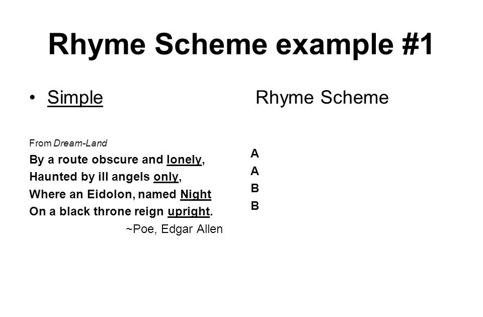 42 rhyme scheme example poem