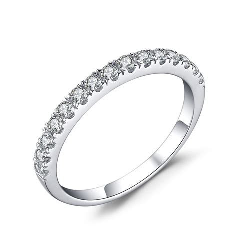 Simple Round Cut White Sapphire 925 Sterling Silver Women