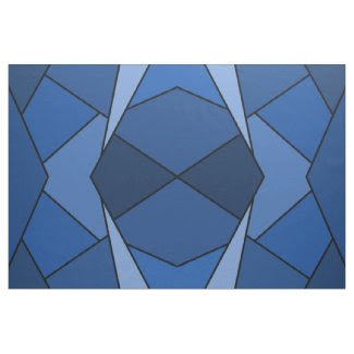 Geometric Abstract Blue Polygons Fabric