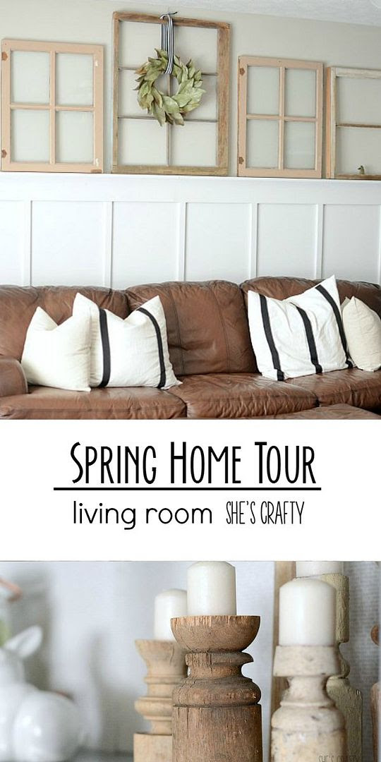 farmhouse living room, spring, brown couches