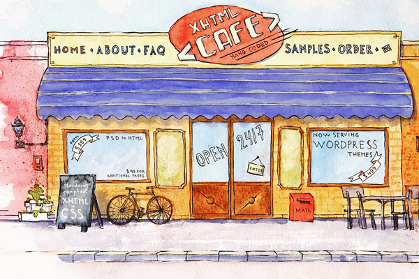 xhtml cafe website design sketches illustration