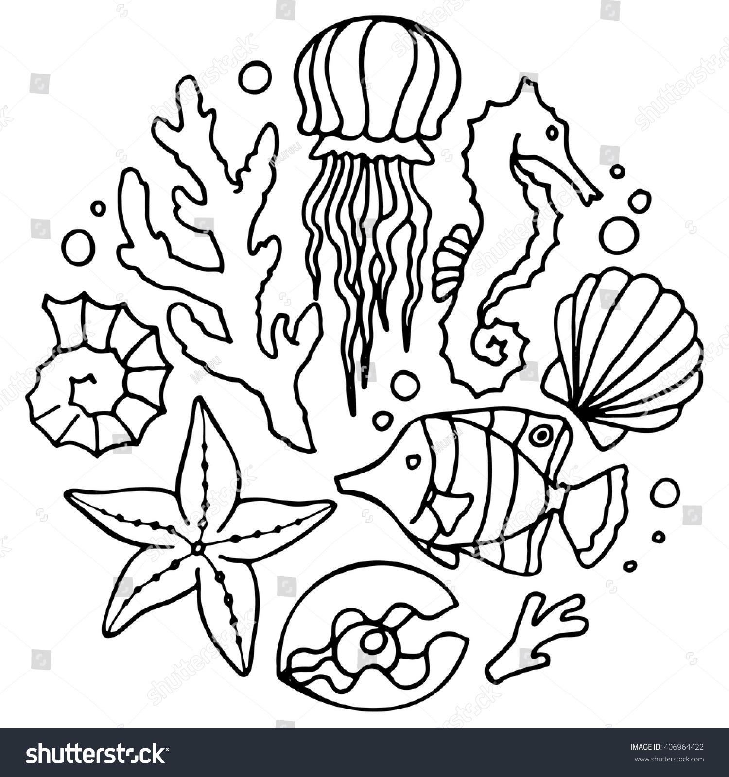 stock vector sea set jellyfish coral sea horse starfish shell tropical fish scallops pearl set of 406964422