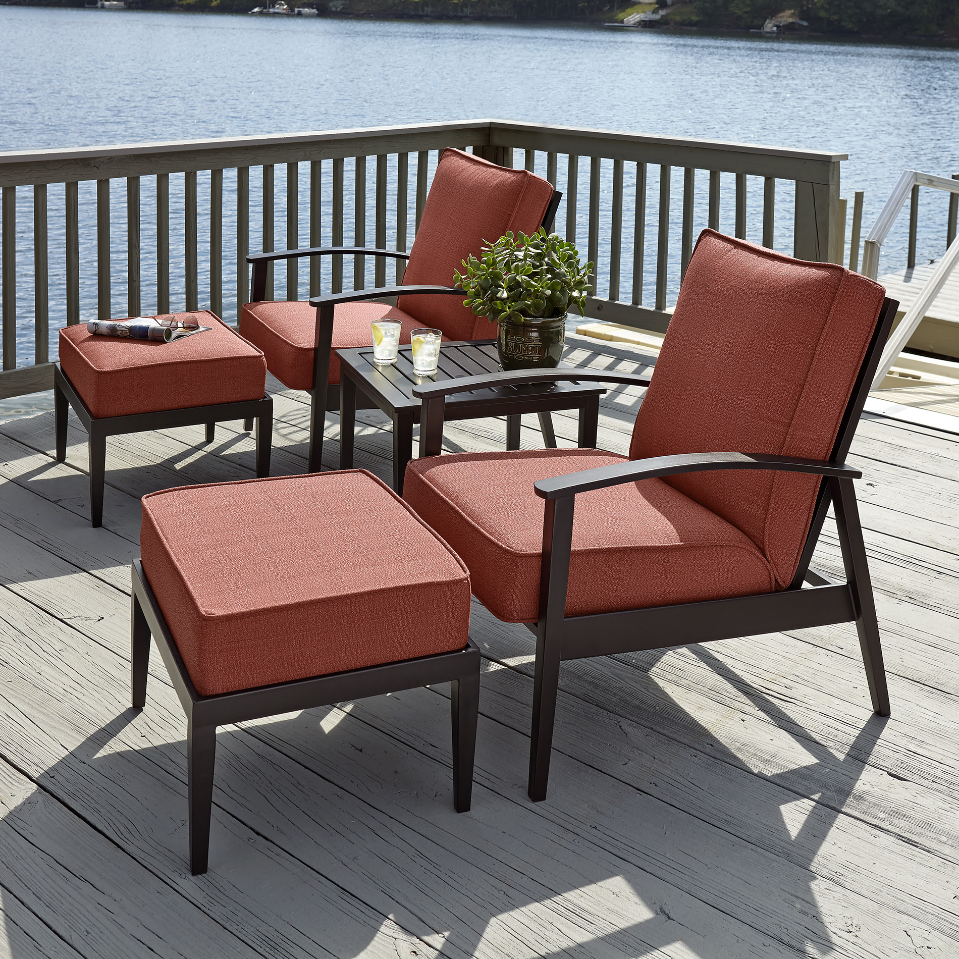 Grand Harbor Lakewood 5 Piece Seating Set- Red* Limited ...