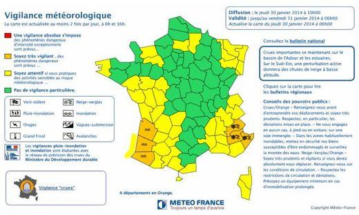 Carte vigilance crues France