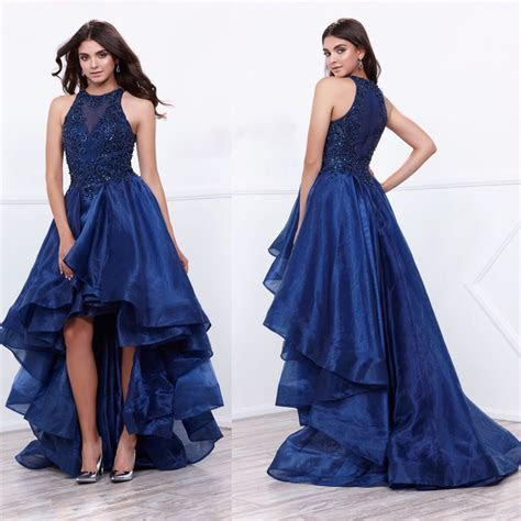 2017 Affordable Navy High Low Prom Dress Evening Gown