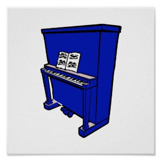 grand blue upright piano with music.png print