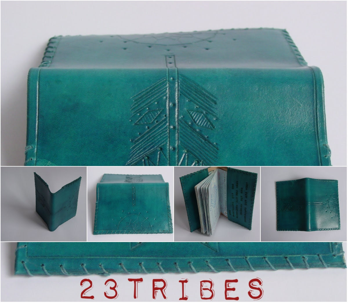 Teal Turquoise Passport carrying case carved leather