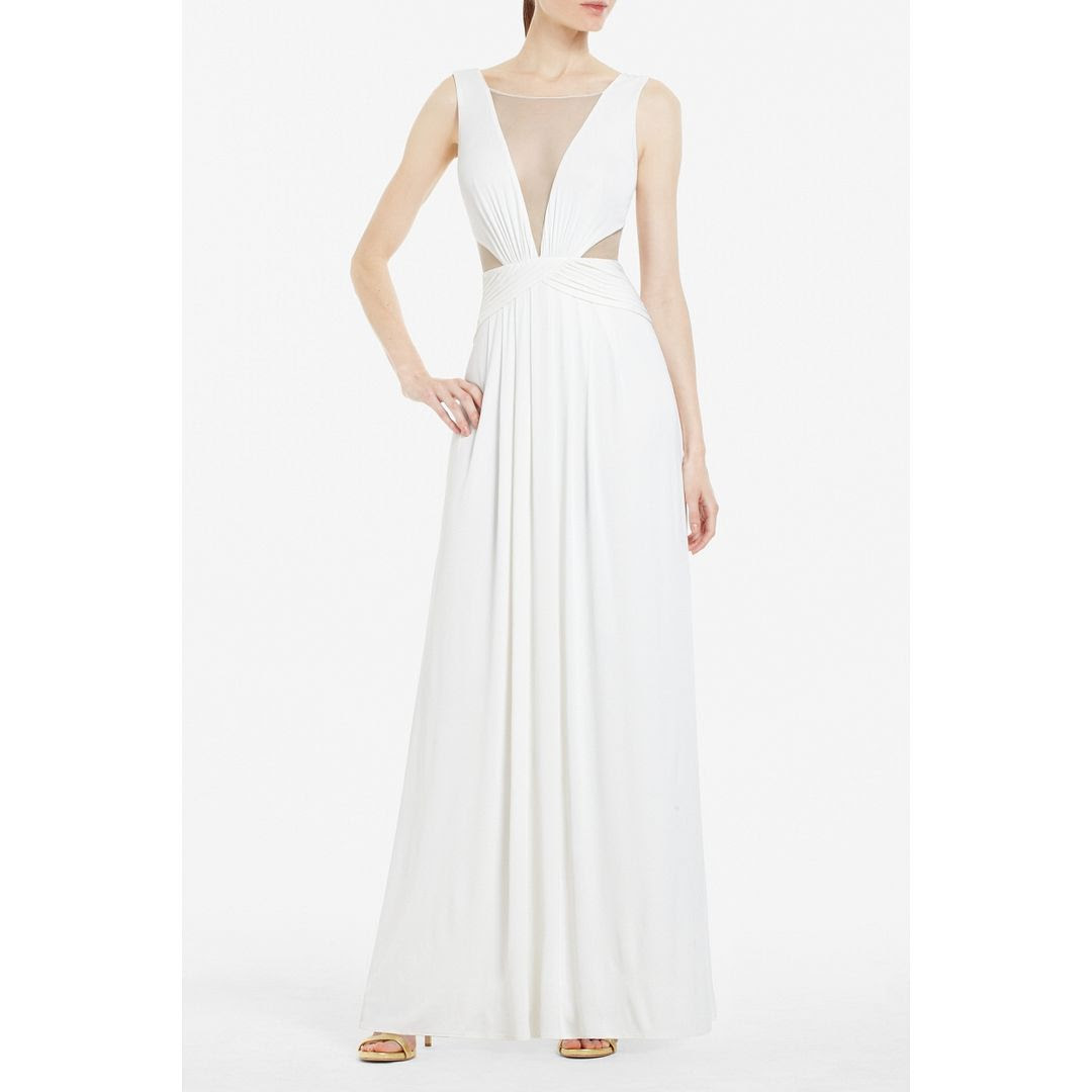 BCBGMAXAZRIA Magdalena Draped Jersey Evening Gown