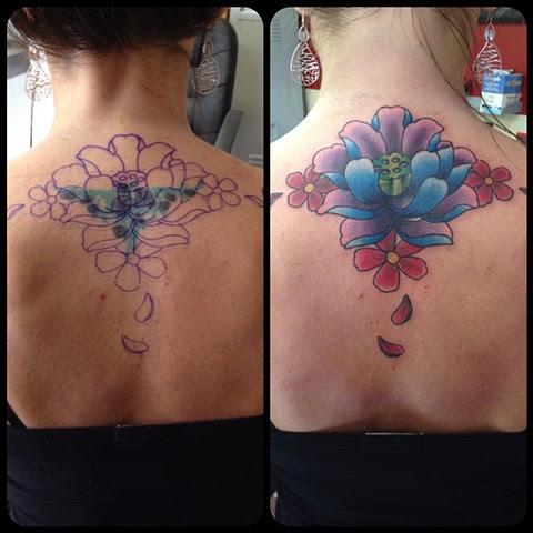 Black Widow Custom Tattoo Design Lotus Coverup